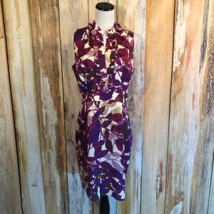 Ellen Tracy Purple Floral Sheath Dress sz 10 EUC!